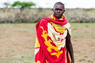 Massai man in ethnic dress