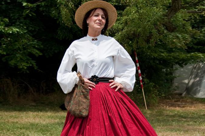 Red hoop skirt
