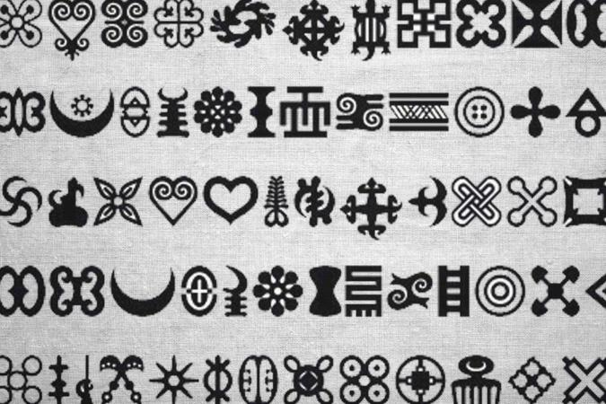 Adinkra stamped cloth