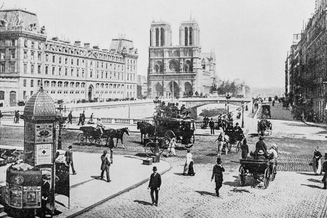 Antique photograph of Notre-Dame de Paris, France in 19th century