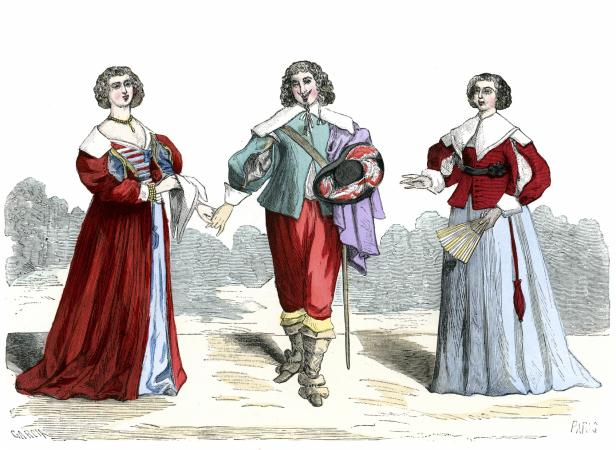 Vintage engraving the costumes of lord and ladies, 17th Century France.