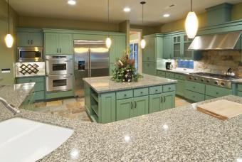 Green colored cabinets