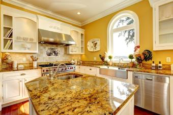Bright yellow kitchen