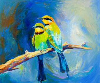 painting of two birds for feng shui tips for art