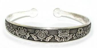 Eight Auspicious Objects Cuff Bracelet
