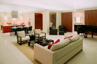 Living room with red decor