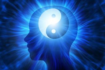 Yin yang energy in head illustration