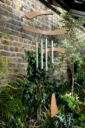 wood and metal wind chimes