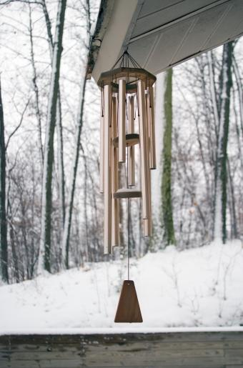 winter wind chimes under outdoor eave