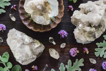 Quartz crystals on wooden table