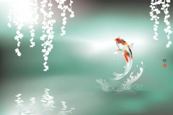 Feng Shui Koi Fish Jumping Art