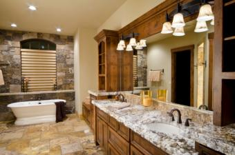 Brown bathroom with marble counter