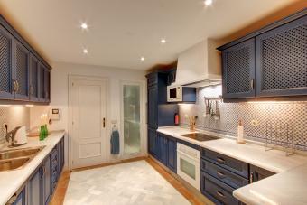 blue and cream-colored kitchen