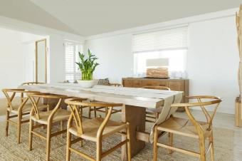 dining room with lucky bamboo plant