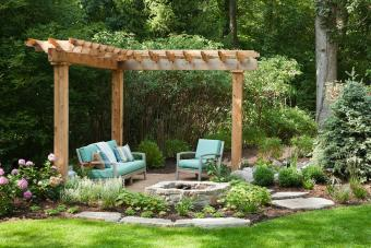 Backyard fire pit and seating area