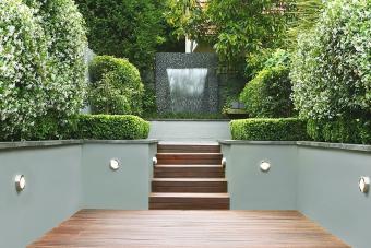 Garden with fountain facing house