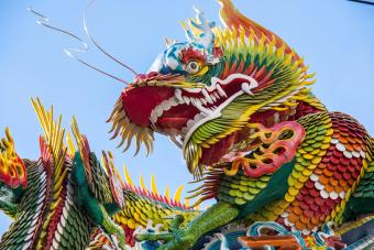 Low Angle View Of Dragon Statue Against Sky
