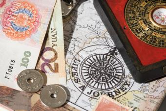 Chinese coins and feng shui compass