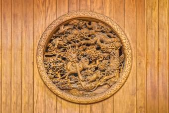 Chinese carving on wooden wall