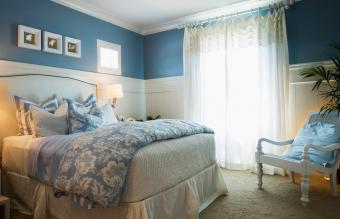 Blue Bedroom with Flower Linens