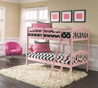 Storkcraft Hardwood Pink Twin Bunk Beds