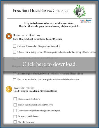 feng shui home buying checklist