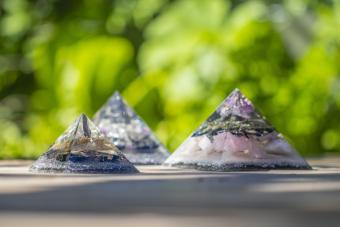 Orgone crystal pyramids