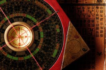 Close up of a feng shui compass