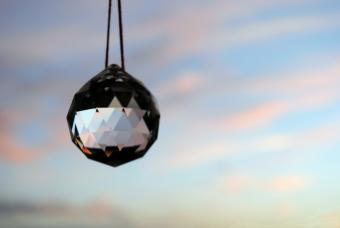 Hanging faceted crystal