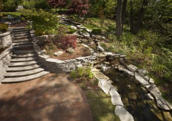 terraced garden with stones