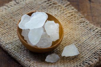 Bowl of quartz crystals