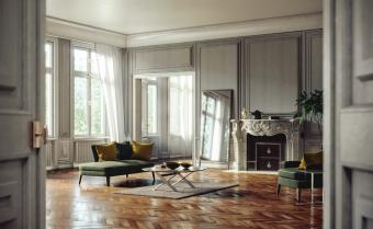 Living room mirror reflecting windows