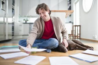 Man organizing papers