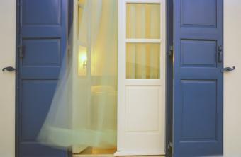 Bedroom with open windows