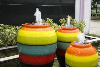 Colorful jar water fountains