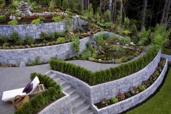 Retaining wall backyard landscaping