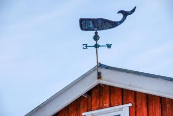 Weathervane on the roof of a house