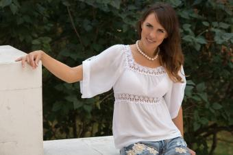 lace top with embroidered jeans