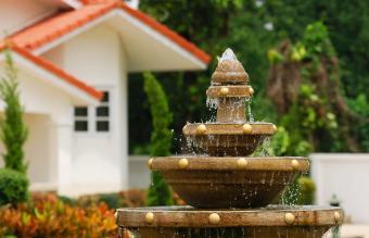 Image of a fountain in backyard