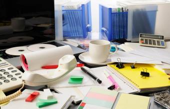 Cluttered office desk