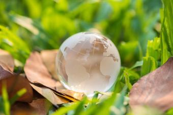 Close up of crystal globe