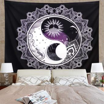 Sun and Moon Tapestry Black and White
