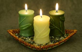 Bamboo Candle Trio in basket