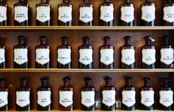 range of oils in homeopathic pharmacy