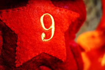 Red Star Decoration With Number 9