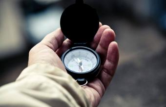 searching direction with a compass