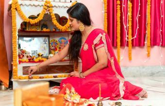 woman celebrating diwali festival