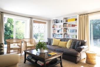 Bookshelves behind couch feng shui