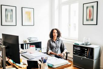 Woman at her home office