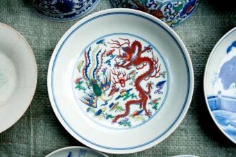 Painted porcelain phoenix and dragon
